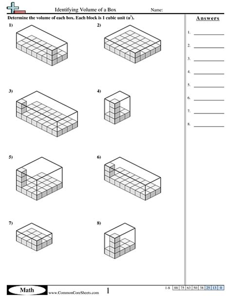 volume worksheets free commoncoresheets