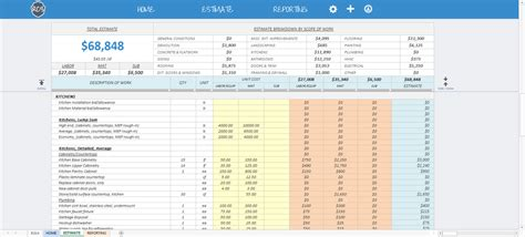 Home Design Software Cost Estimate by Remodel Cost Spreadsheet Estimating Software For Exterior