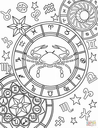 Zodiac Coloring Pages Sign Cancer Signs Astrology