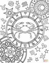 Zodiac Coloring Sign Cancer Pages Signs Printable Adult Star Sheets Gemini Aries Mandala Animals Adults Drawing Print sketch template