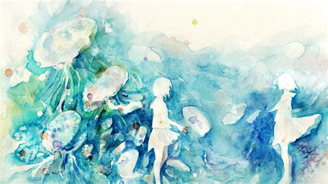 ai watercolor blue girl nature art illust papersco