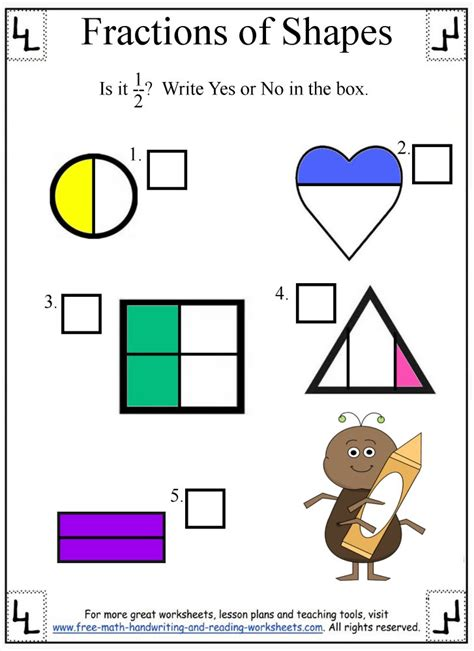 Identifying Fraction Worksheets