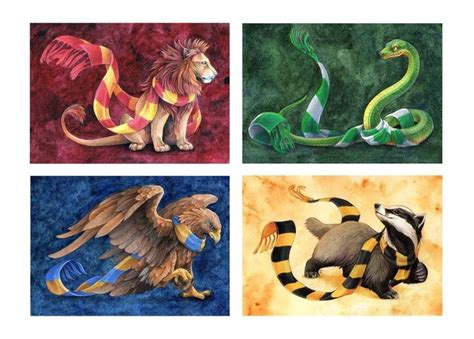 hogwarts house animals scarves harry potter art
