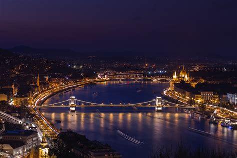 night time bridge   river cityscape image