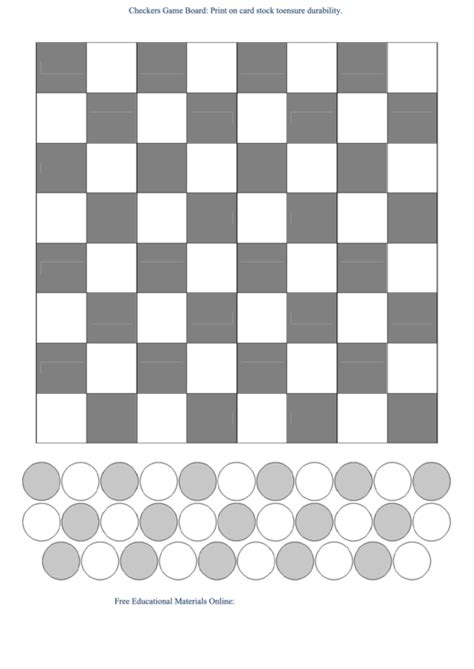checkers game board template bw printable
