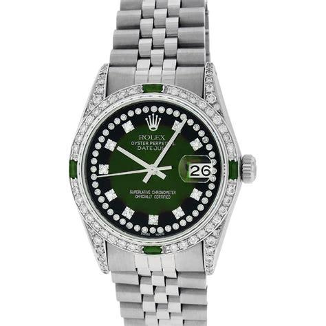 Rolex Mens Stainless Steel Green Vignette Diamond ...