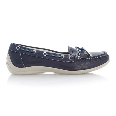 Boat Shoes Geox by Geox Yuki Velcro Leather Flat Toe Boat Shoes In Blue