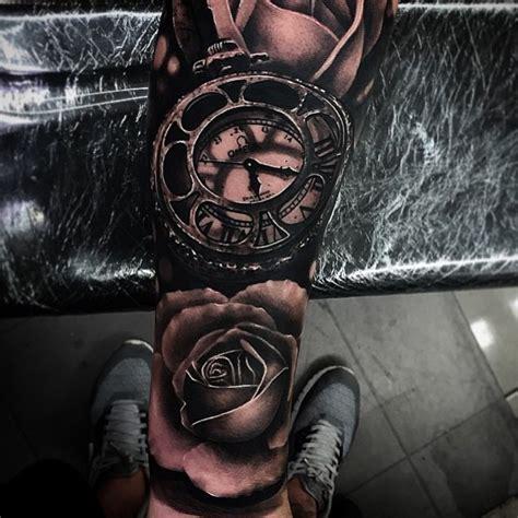 omega blackwork clock  roses realistic  tattoo  da ink  tattoo ideas gallery