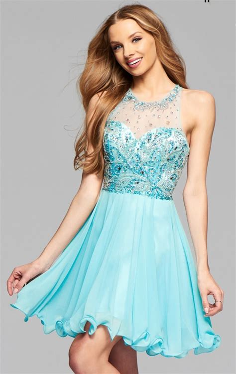 New Sky Blue Homecoming Dresses Short Prom Dresses Beaded ...