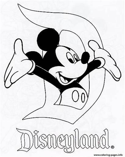 Disneyland Coloring Disney Pages Printable Mickey Drawing