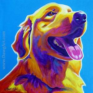 Colorful Pet Portrait Golden Retriever Dog Art Print 12x12 ...
