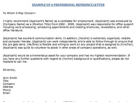Exle Of Professional References Letter by Exle Of Professional Reference Letter Resumes Design