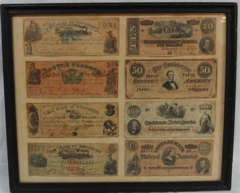Civil War Notes by 8 Confederate States Civil War Currency Notes