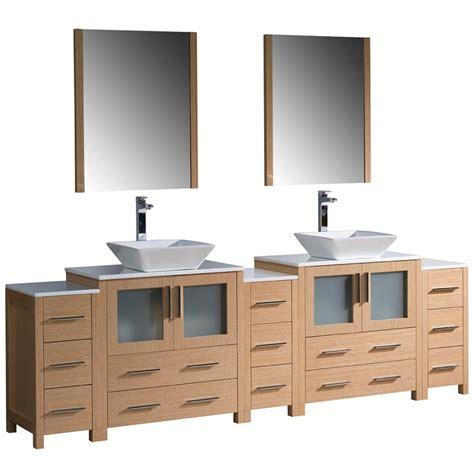 Torino 96 Inch Light Oak Modern Double Sink Bathroom
