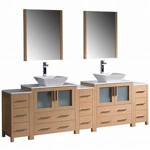 Torino 96 Inch Light Oak Modern Double Sink Bathroom ...