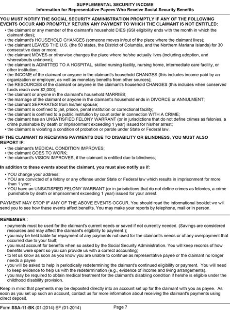 social security rep payee form ssa 11 appendix c selected forms informing social security s