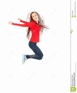 Jumping Happy Teen Girl, Full Length Royalty Free Stock ...