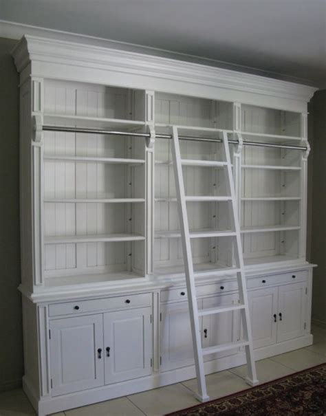 love  white library cabinet  ladder library