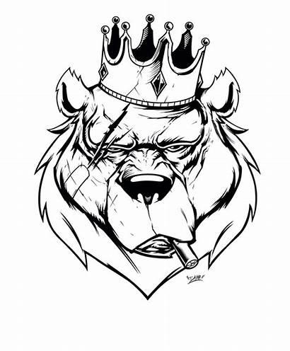 Bear King Tattoo Cool Drawing Drawings Coming