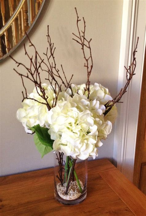 hydrangea floral arrangement  twigs set   water