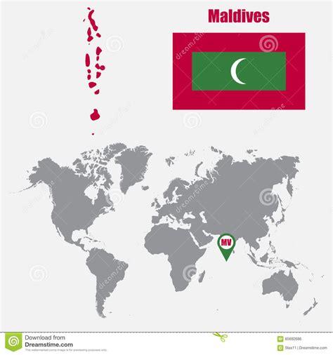 Carte Du Monde Avec Maldives by Les Maldives Tracent Sur Une Carte Du Monde Avec Le