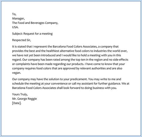 sample request letter  business meeting appointment