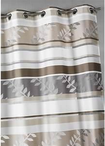 Kit Rayure Vitrage : voilage en organza rayures et motifs feuilles beige ~ Premium-room.com Idées de Décoration