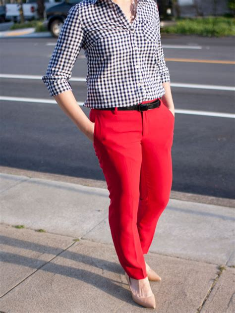 gingham red ankle pants shopping my closet a fashion blog