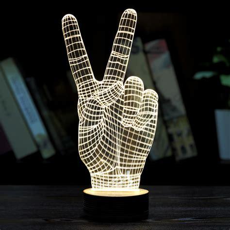 moza home decor wood acrylic  victory sign light led
