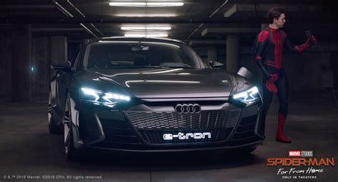 audi tron gt spider spiderman far electric movie placement holland tom cars ad gets concept takes borrow project commercial ev