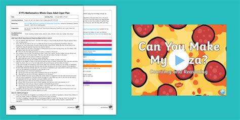 * New * Eyfs Maths Can You Make A Pizza? Counting Whole Class