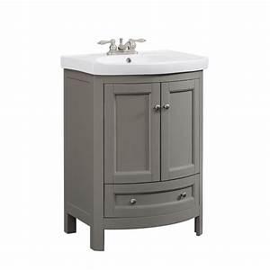 Runfine 24 in W x 18 in D x 34 in Wood Gray Vanity with