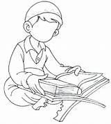 Quran Coloring Islamic Clipart Reading Worksheet Pages Boy Ramadan Coran Drawing Islam Kindergarten Muslim Library Studies Cliparts Colouring Clip Reciting sketch template