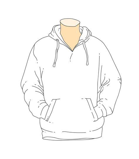 Hoodie Template Blank White Outline Hooded Sweatshirt Template