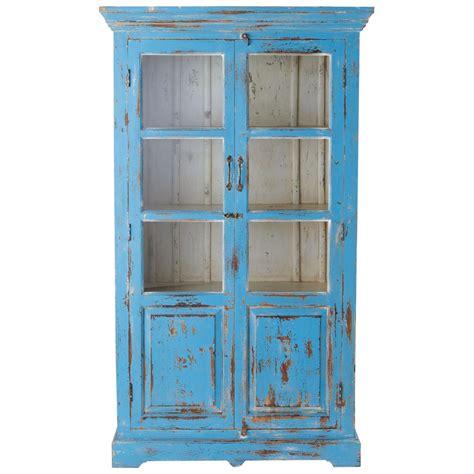modele de chambre ado fille vitrine en manguier turquoise effet vieilli l 105 cm