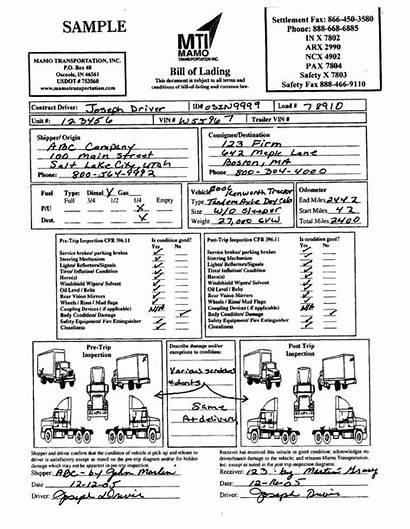 Lading Bill Vehicle Fuel Bol Sample Complete