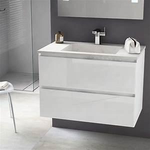 Meuble De Salle De Bain Sans Vasque : meuble salle de bain 81cm blanc brillant vasque pierre cordoue ~ Teatrodelosmanantiales.com Idées de Décoration