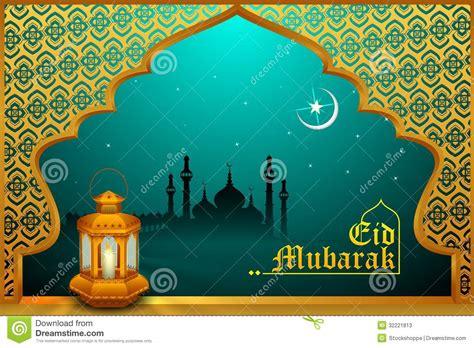 glowing lamp  eid mubarak background stock