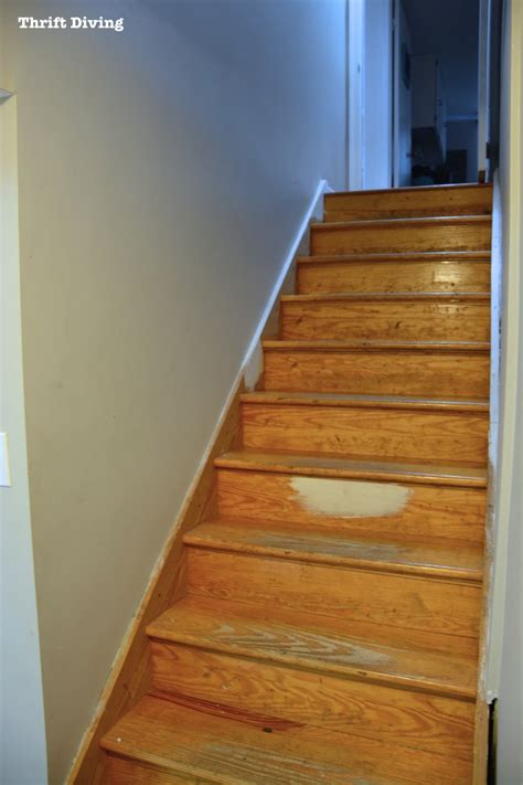 before after diy painted stairs makeover thrift diving