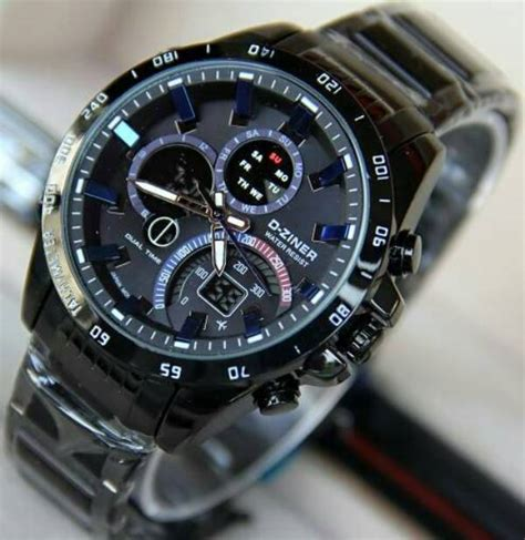 D Ziner Dz 8078 Black Blue jual jam tangan d ziner dz 8106 black original anti air