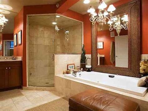 orange bathroom with our floor tiles light