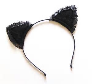 black lace kitty cat ears headband folksy