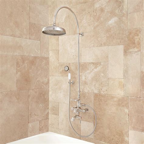 brushed nickel drawer oxford thermostatic tub and shower set 18 quot arching