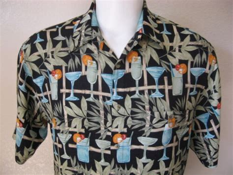mens cardin black rayon size m tiki drink bamboo aloha hawaiian shirt usd 99 end