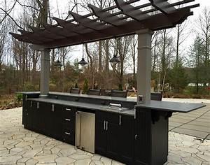 Poolside outdoor kitchen fiberglass pergola structureworks for Pergola outdoor kitchen