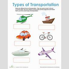 Forms Of Transportation  Worksheet Educationcom