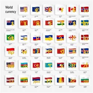 Значок символов валюты мира установил с флагами страны ...