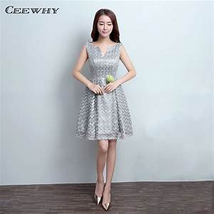 ceewhy gray sleeveless v opening knee length lace wedding With gray cocktail dress for wedding