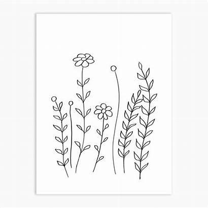 Minimal Flowers Flower Drawing Leaves Line Simple