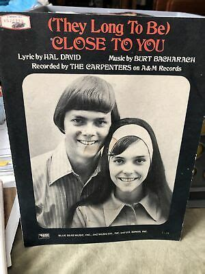 """Karen carpenter was blessed with one of the most exquisitely warm and inviting voices in pop history, but with a melancholy edge even on her sunniest a long string of fine records followed, until the siblings' personal problems began to eclipse their music. """"Close to You,"""" The Carpenters, Burt Bacharach Song, 1963, Vintage Sheet Music 